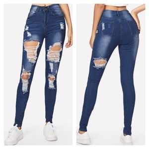 Jeans - Distressed High Rise Skinny Jean